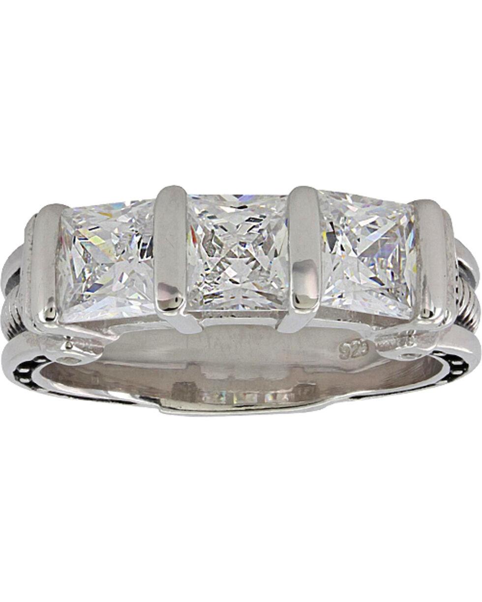 Montana Silversmiths Women's Silver Three Times a Stone Horseshoe Nail Ring - Size 6, Silver, hi-res