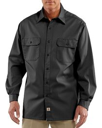 Carhartt Twill Button Work Shirt - Tall, Black, hi-res