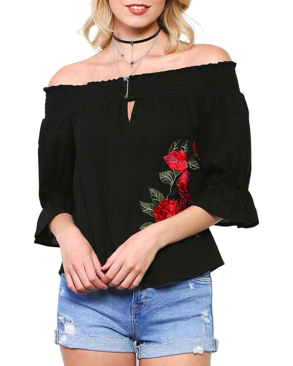 Ces Femme Women's Off The Shoulder Long Sleeve Shirt, Black, hi-res