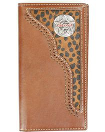 PBR Concho Leopard Print Hair-on Hide Inlay Rodeo Wallet, , hi-res