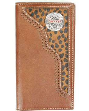 PBR Concho Leopard Print Hair-on Hide Inlay Rodeo Wallet, Brown, hi-res