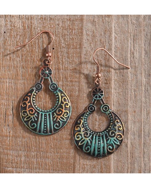 Shyanne Women's Painted Patina Scroll Design Earrings, Rust Copper, hi-res
