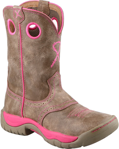 Twisted X Women's Pink Ribbon All Around Western Boots, Brown, hi-res