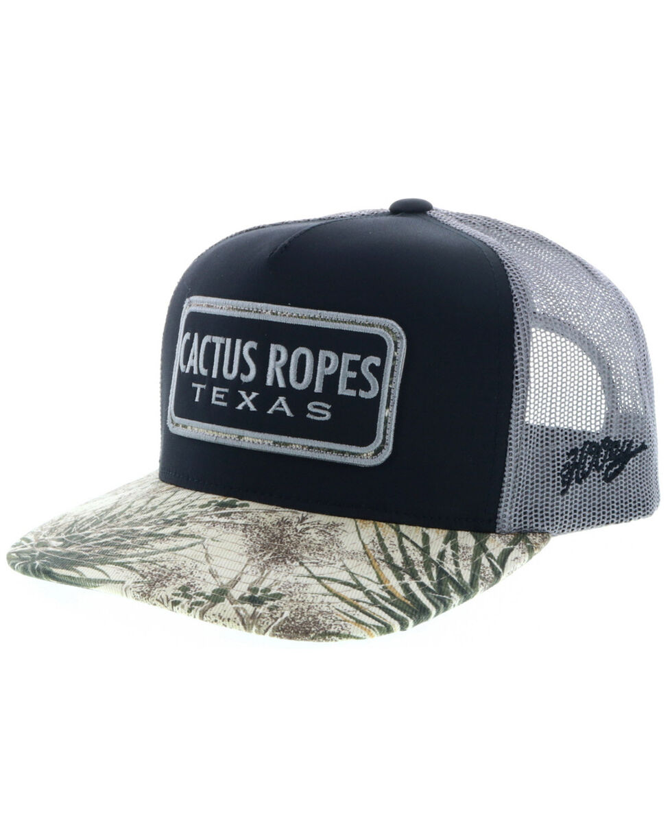HOOey Men's Black Cactus Ropes Cap , Black, hi-res