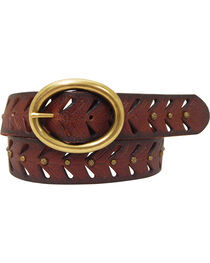 Cowgirls Rock Women's Brown Oval Bar Buckle Leather Belt, , hi-res