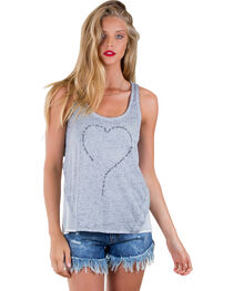 Others Follow Women's Be Mine Heart Grey Tank Top , , hi-res