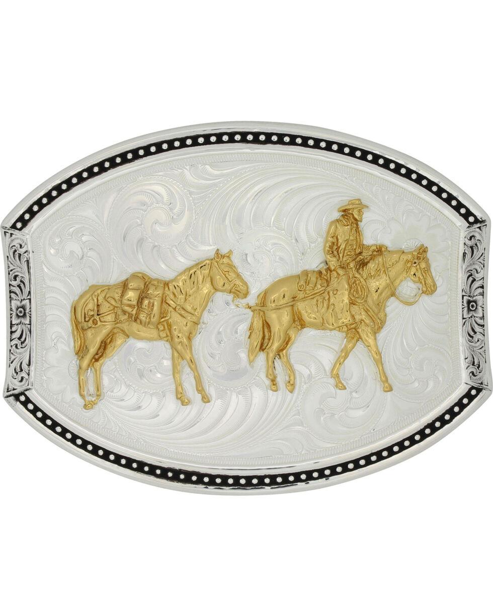 Montana Silversmiths Star Light Park Horse & Rider Belt Buckle, Multi, hi-res