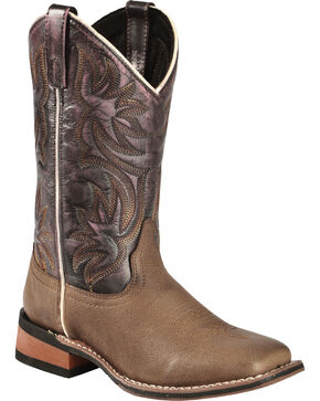 Laredo Women's Sanded Western Boots, Dark Brown, hi-res