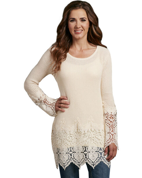 Cowgirl Up Women's Thermal Long Sleeve Lace Trim Top, Cream, hi-res
