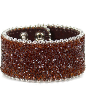 Shyanne® Women's Silver Crystal Snap Cuff Bracelet, Brown, hi-res