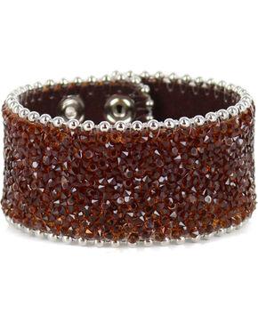 Shyanne® Women's Silver Crystal Snap Cuff Bracelet, Brown, hi-res