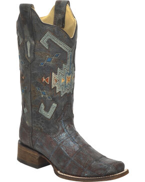 Corral Women's Vintage Lizard Patchwork Exotic Boots, Brown, hi-res