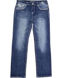 Grace in LA Women's Plus Size Embellished Pockets Straight Leg Jeans, , hi-res