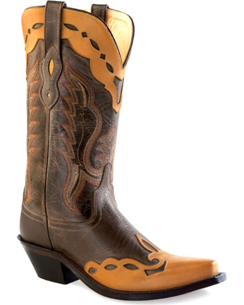 Old West Women's Brown Overlay Western Boots - Snip Toe , Brown, hi-res