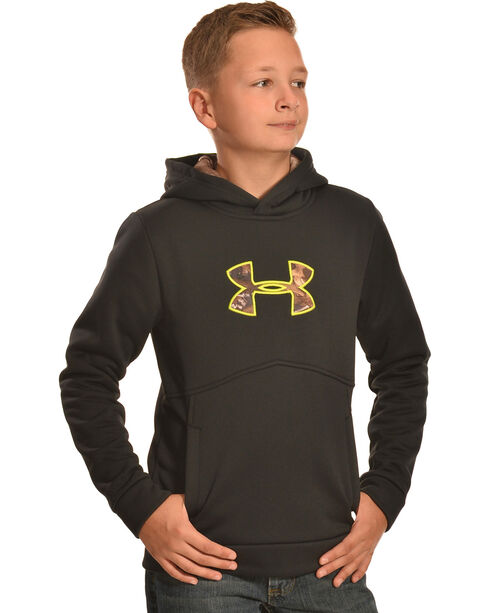 Under Armour Boys' Storm Icon Caliber Hoodie, Black, hi-res