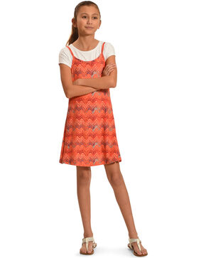 Derek Heart Girls' Chevron Print 2 Piece Dress Set, White, hi-res