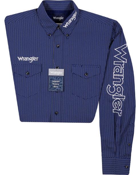 Wrangler Men's Logo Long Sleeve Shirt, Blue, hi-res