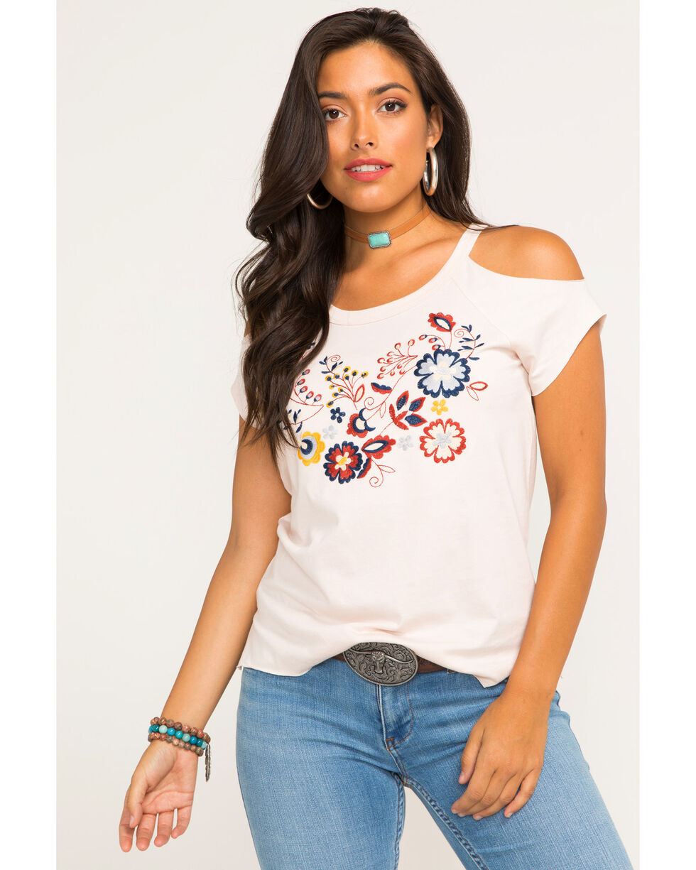 Shyanne Women's Embroidered Floral Cold Shoulder Top, Blush, hi-res