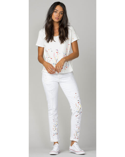 MM Vintage Women's White Paint Splatter Embroidered Boyfriend Jeans, White, hi-res