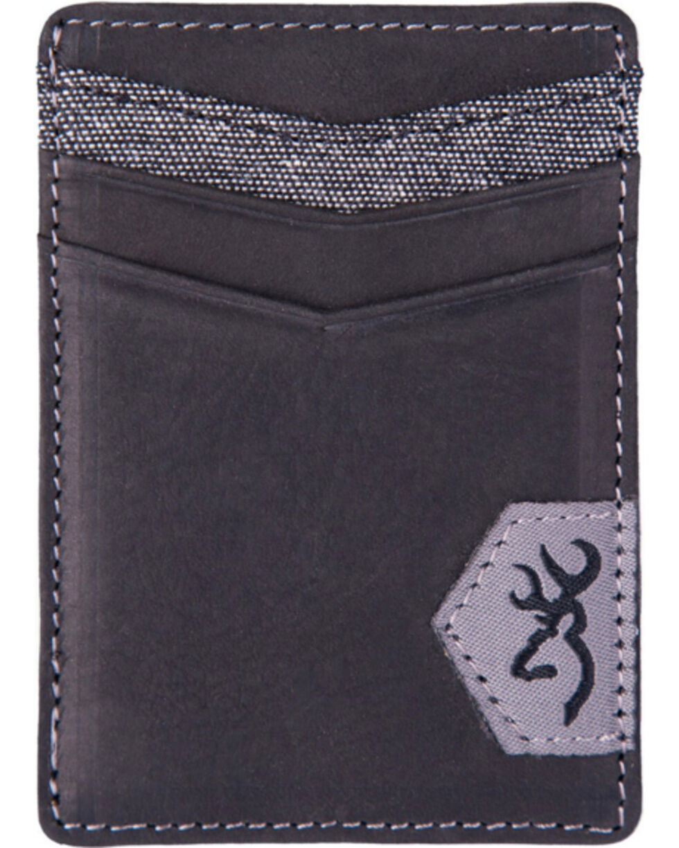 Browning Men's Black Leather Money Clip Wallet, Black, hi-res