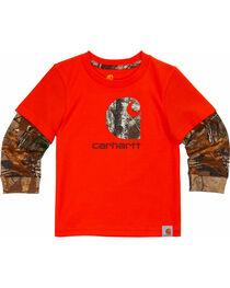 Carhartt Toddler Boys' Orange Iconic C Camo Tee , , hi-res