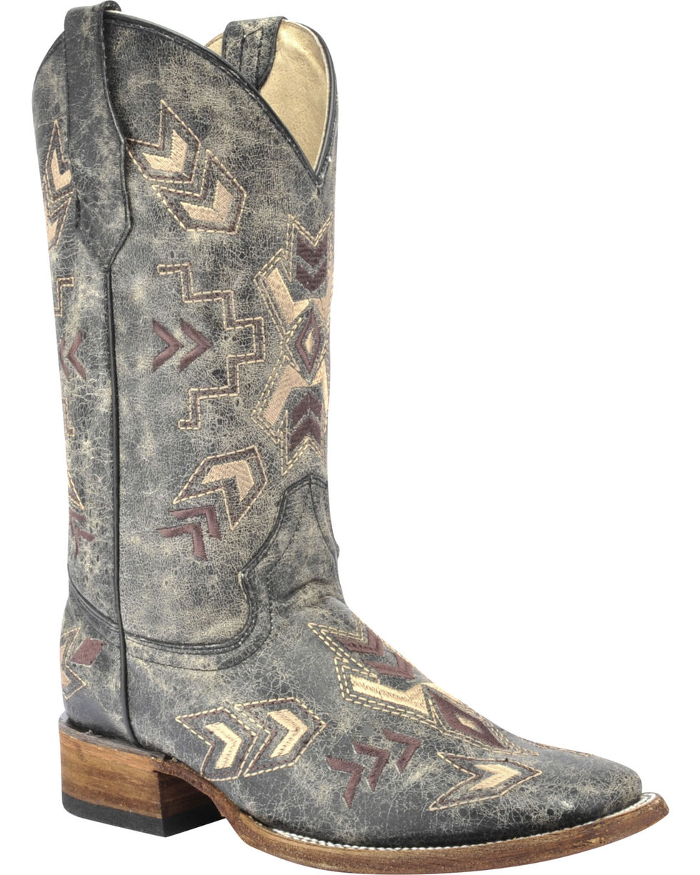 Corral Women's Distressed Arrowhead Western Boots, Black, hi-res