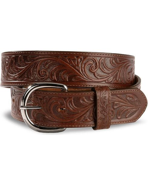 Justin Men's Dark Brown Tooled Leather Belt, Dark Brown, hi-res