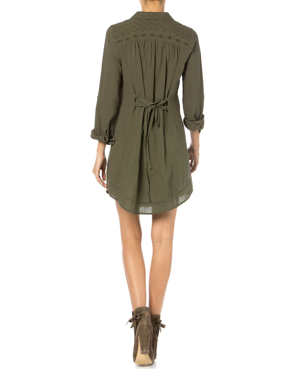 Miss Me Olive Embroidered Shirt Dress, Olive, hi-res