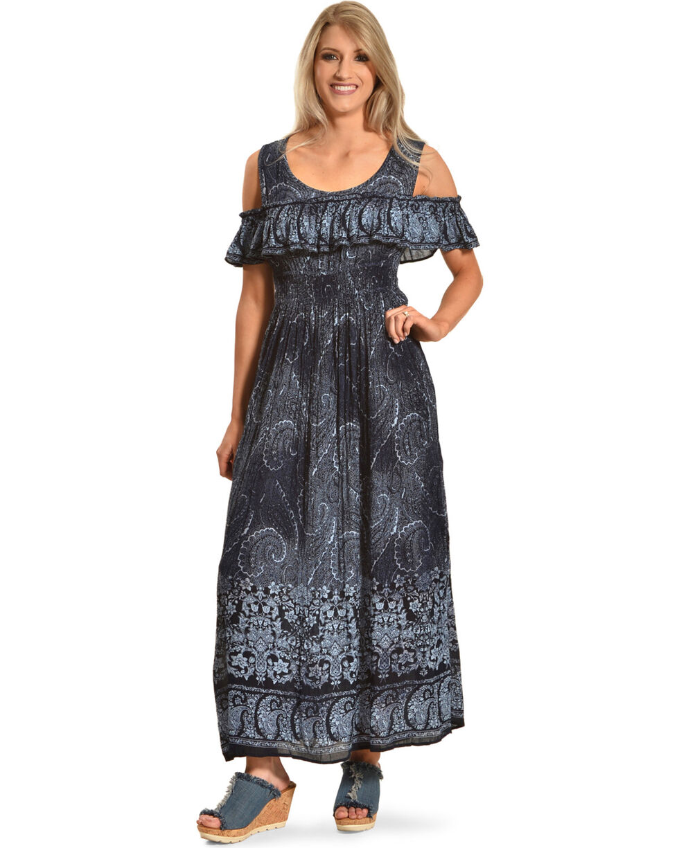 Bila Women's Navy Cold Shoulder Maxi Dress, Navy, hi-res