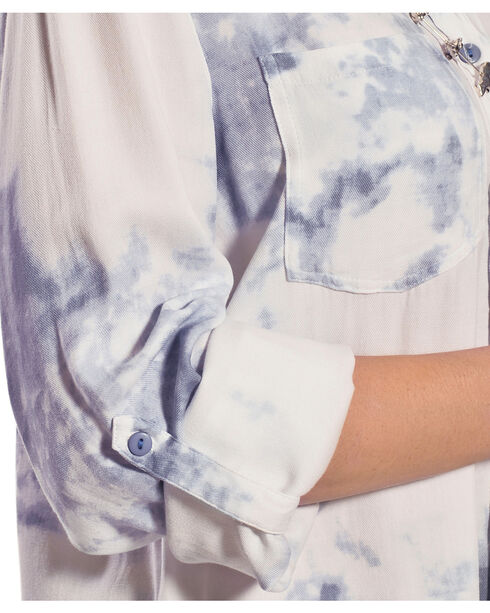 New Direction Sport Women's Blue Tie Dye Top, Blue, hi-res
