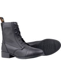 Dublin Elevation Laced Paddock Black Equestrian Boots, , hi-res