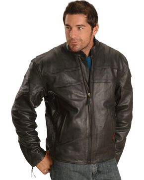 Milwaukee Men's Maverick Leather Motorcycle Jacket, Black, hi-res
