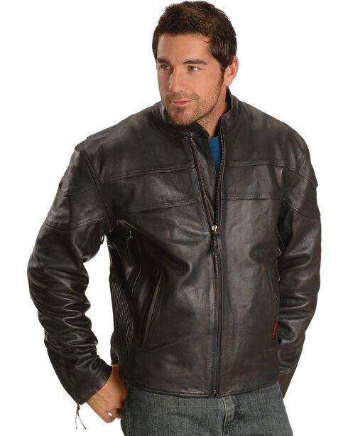 Milwaukee Men's Maverick Leather Motorcycle Jacket, Black, hi-res