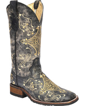 Corral Women's Crackle Embroidered  Western Boots, Black, hi-res