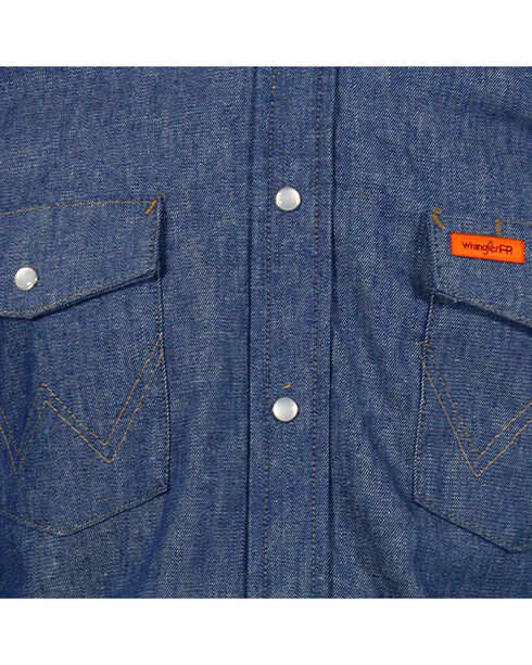 Wrangler Flame Resistant Western Work Shirt - Tall, Blue, hi-res