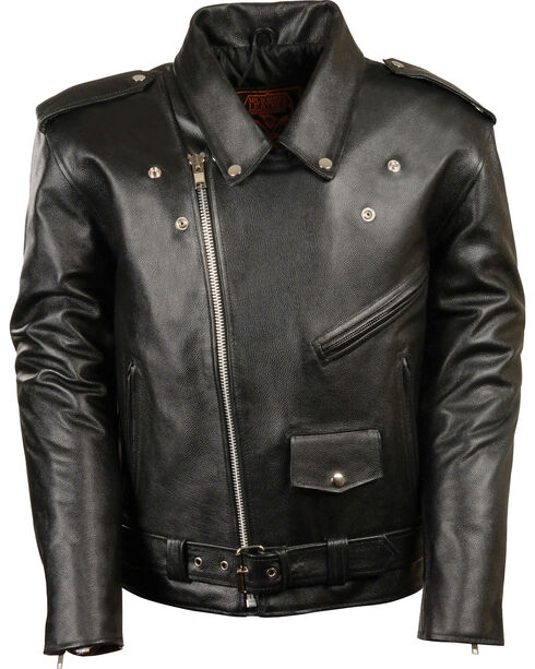 Milwaukee Leather Men's Black Classic Police Style M/C Jacket - Big 3X , Black, hi-res