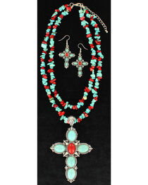 Blazin Roxx Women's Turquoise and Red Cross Jewelry Set , , hi-res