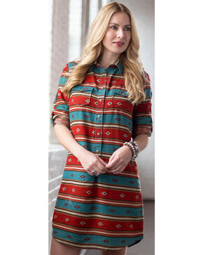 Ryan Michael Women's Serape Stripe Dress, Chili, hi-res