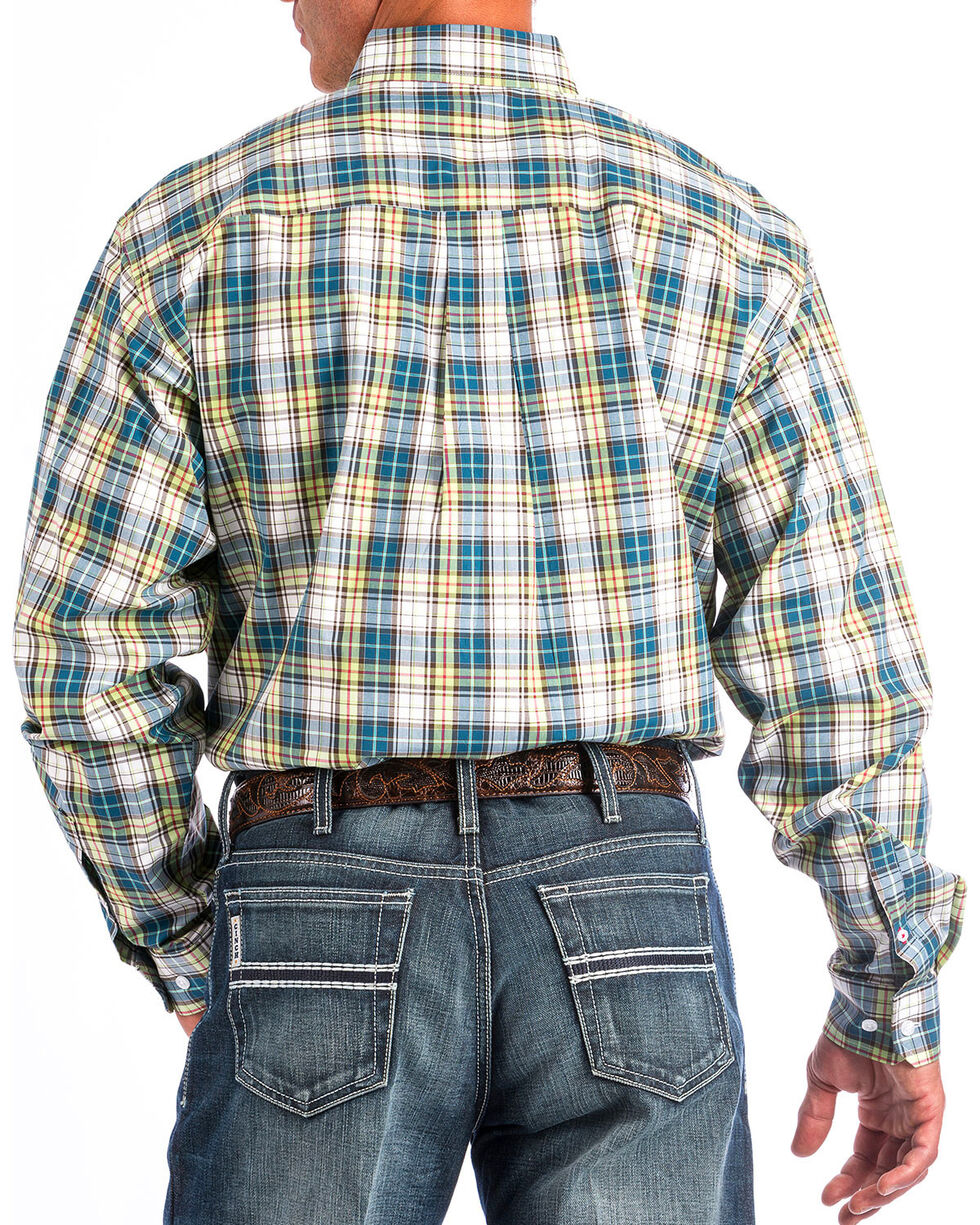 Cinch Men's Plaid Long Sleeve Button Down Shirt, Multi, hi-res
