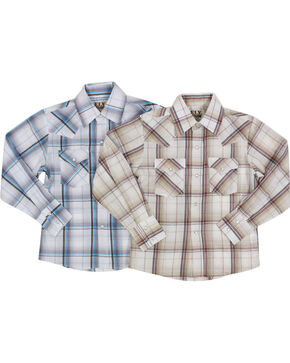 Ely Cattleman Boys' Assorted Plaid Western Long Sleeve Shirt, Multi, hi-res
