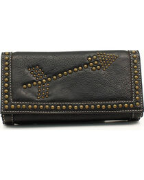 Blazin Roxx Women's Brass Studded Arrows Wallet, , hi-res