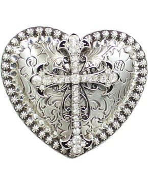 Nocona Heart Rhinestone Cross Buckle, Silver, hi-res