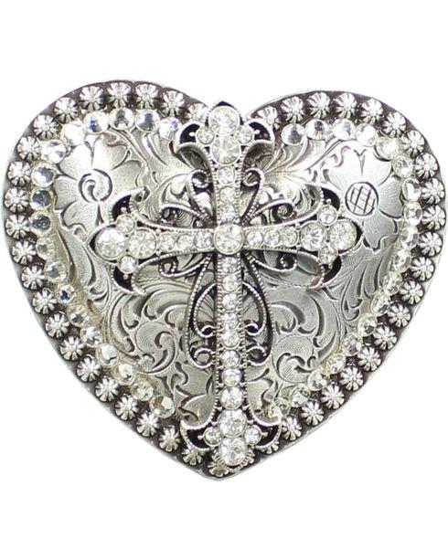 Nocona Heart Rhinestone Cross Buckle, Silver, hi-res