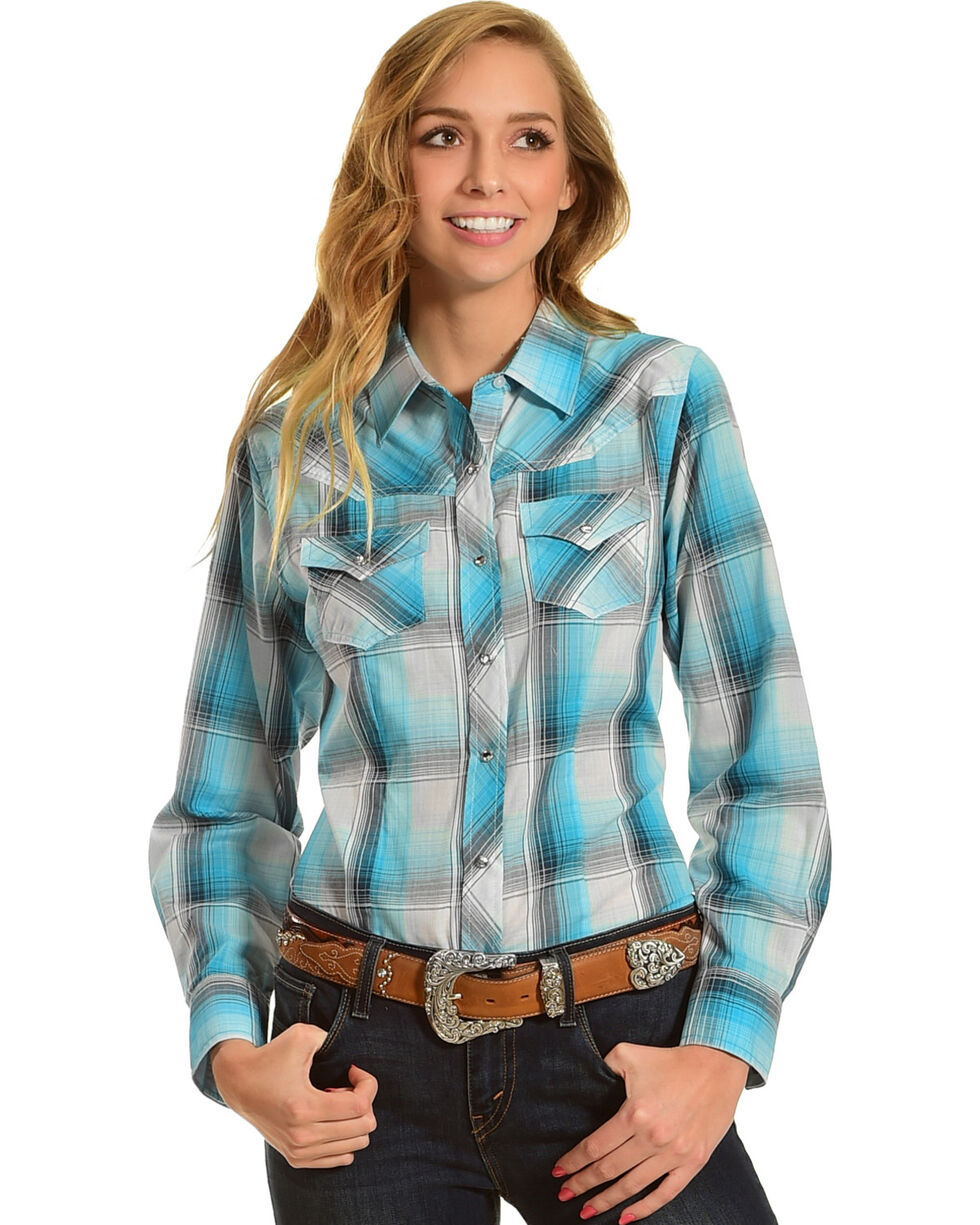 Ely Cattleman Women's Jade Plaid Western Shirt , Green, hi-res