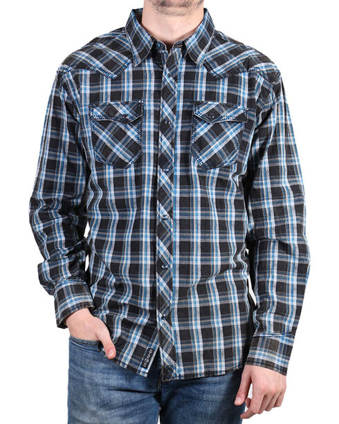 Moonshine Spirit® Men's Diamond Back Plaid Long Sleeve Shirt , Black, hi-res