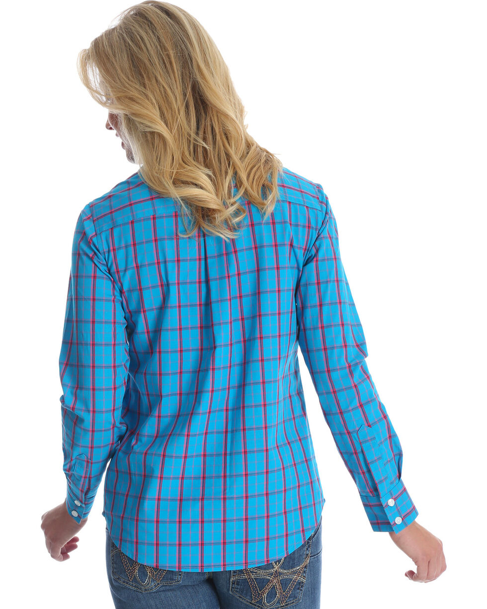 Wrangler Women's Blue George Strait Plaid Western Shirt , Multi, hi-res