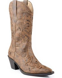 Roper Vintage Glittery Inlay Cowgirl Boots - Snip Toe, , hi-res