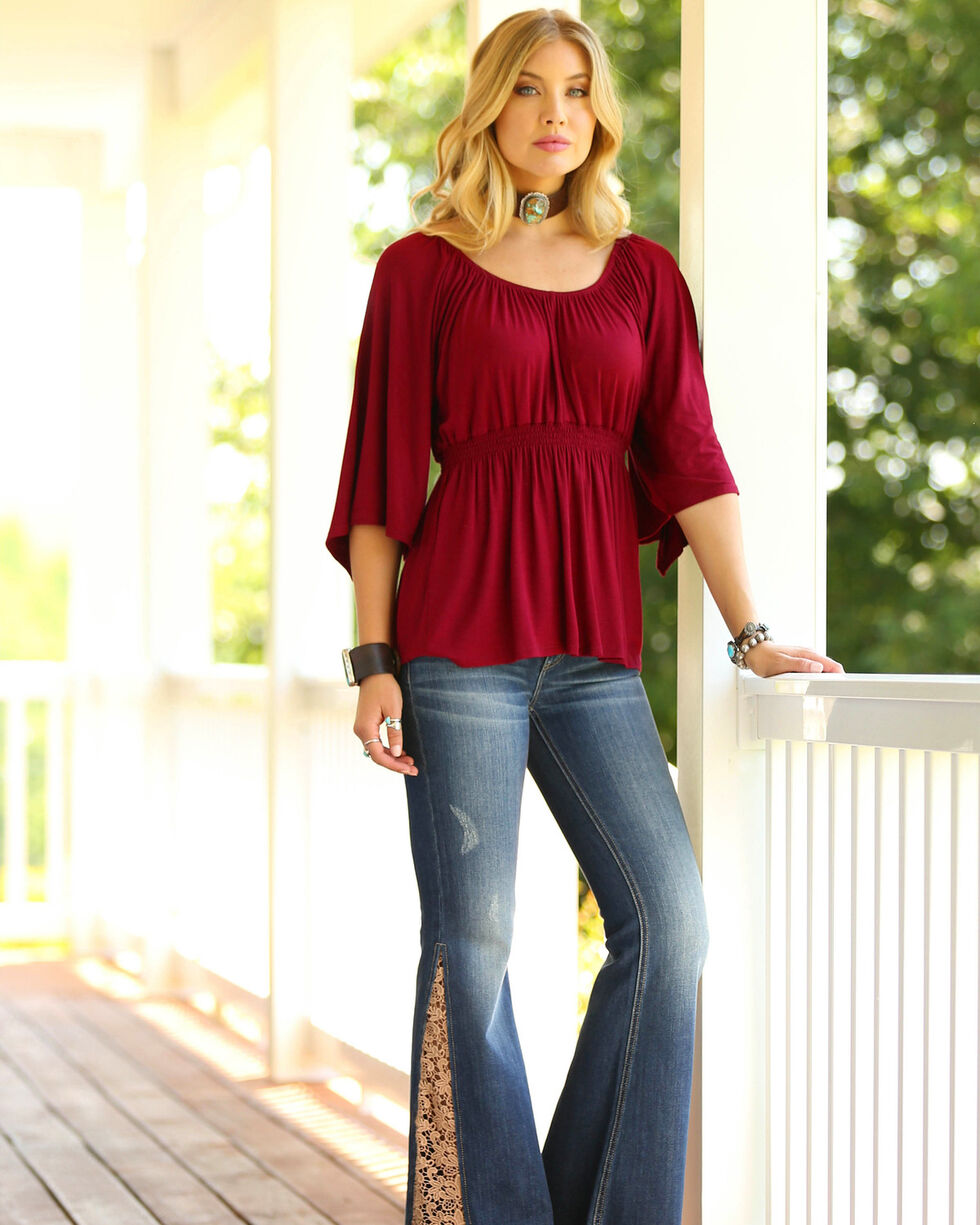 Wrangler Women's Burgundy Peasant Top , Burgundy, hi-res