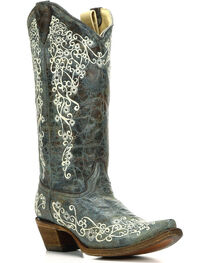 Corral Women's Turquoise Embroidered Boots - Snip Toe , , hi-res
