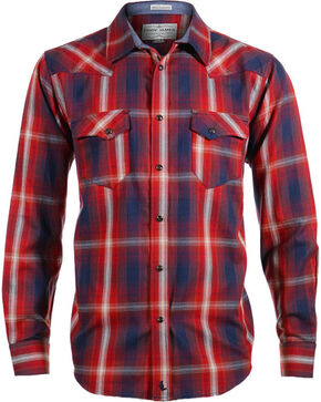 Cody James® Men's 8 Seconds Plaid Long Sleeve Shirt, Russet, hi-res